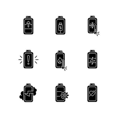 Battery problems black glyph icons set on white space. Overheating while using charging cables. Fully one hundred percentage on your devices. Silhouette symbols. Vector isolated illustration