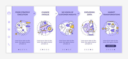 Business problems onboarding vector template. Poor strategy execution. Exploding data. Market transformation. Responsive mobile website with icons. Webpage walkthrough step screens. RGB color concept