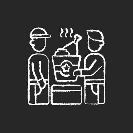 Food pickup chalk white icon on black background. Restaurant takeout. Ordering online food from restaurants. Fast-food options. Ready-made meals. Isolated vector chalkboard illustration 矢量图像
