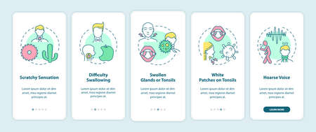 Sore throat symptoms onboarding mobile app page screen with concepts. Scratchy sensation, hoarse voice walkthrough 5 steps graphic instructions. UI vector template with RGB color illustrations