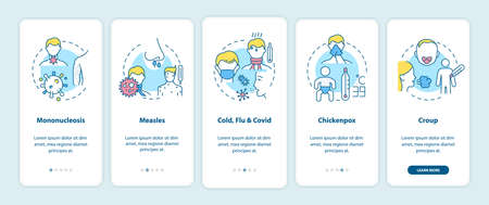 Viral sore throat causes onboarding mobile app page screen with concepts. Mononucleosis, measles, chickenpox walkthrough 5 steps graphic instructions. UI vector template with RGB color illustrations 向量圖像