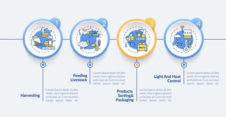 Agriculture machines types vector infographic template. Farm crop harvesting presentation design elements. Data visualization with 5 steps. Process timeline chart. Workflow layout with linear icons