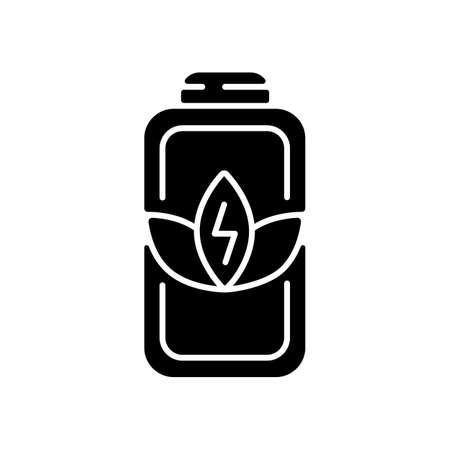Battery charge saving black glyph icon. Economy mode when having low percentage. Increasing working time of your device. Silhouette symbol on white space. Vector isolated illustration