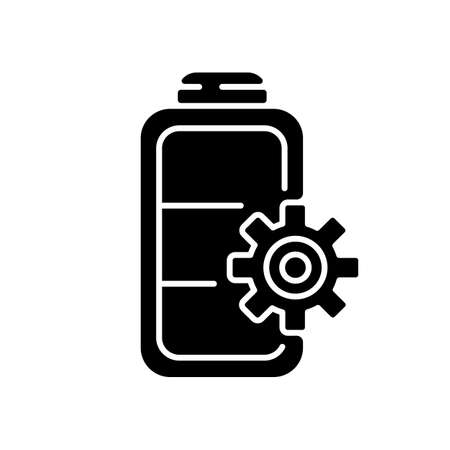 Battery settings black glyph icon. Installing right rules for device usage. Controlling amount of power incoming. Electricity management. Silhouette symbol on white space. Vector isolated illustration