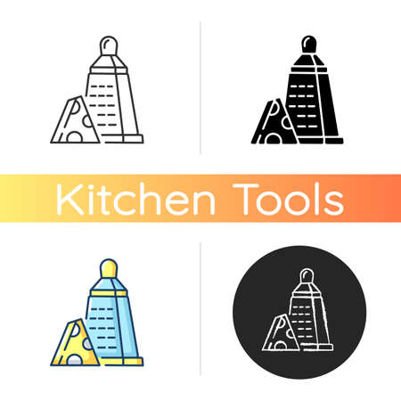 Grater of vegetables icon. Cheese stainless cutter. Kitchen utensil to slice cheddar. Cut cooking ingredient. Sharp cutlery. Linear black and RGB color styles. Isolated vector illustrations