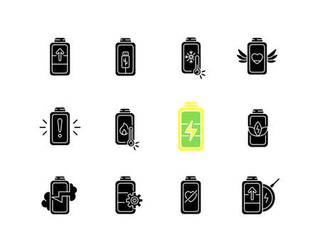 Battery status black glyph icons set on white space. Innovational charging process. Using cables for getting electricity. Wireless station. Silhouette symbols. Vector isolated illustration Illusztráció