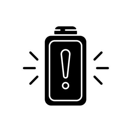 Battery working process risk black glyph icon. Devices chargers working issues. Dangerous power encreasing. Percentage level. Silhouette symbol on white space. Vector isolated illustration Illusztráció