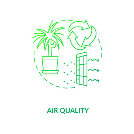 Air quality green concept icon. Indoor ventilation. Clean house. Environmental care. Air circulation. Biophilia idea thin line illustration. Vector isolated outline RGB color drawing Stock Illustratie