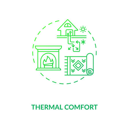 Thermal comfort green concept icon. Temperature at home. House conditioning. Heat control in living space. Biophilia idea thin line illustration. Vector isolated outline RGB color drawing Ilustración de vector