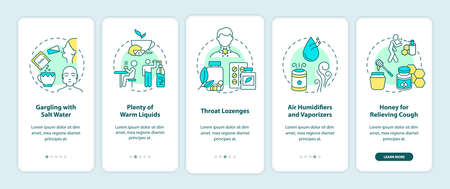 Sore throat treatment onboarding mobile app page screen with concepts. Salt water, warm liquids, lozenges walkthrough 5 steps graphic instructions. UI vector template with RGB color illustrations