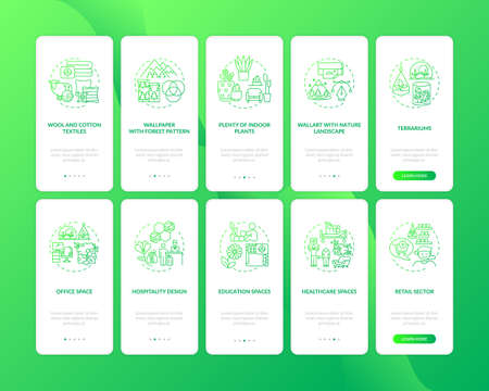 Biophilia green onboarding mobile app page screen with concepts set. Natural materials. Indoor environment walkthrough 5 steps graphic instructions. UI vector template with RGB color illustrations