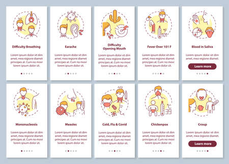 Sore throat complications onboarding mobile app page screen with concepts set. Infectious illness causes walkthrough 5 steps graphic instructions. UI vector template with RGB color illustrations
