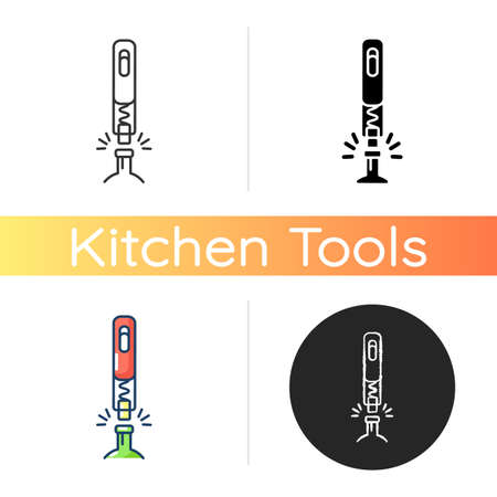 Corkscrew icon. Utensil for drawing cork from bottle. Kitchen tool. Household equipment to open drink. Wine opener. Linear black and RGB color styles. Isolated vector illustrations
