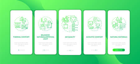 Comfortable home green onboarding mobile app page screen with concepts. Natural light. Indoor space walkthrough 5 steps graphic instructions. UI vector template with RGB color illustrations 向量圖像