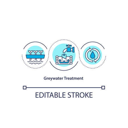 Greywater treatment concept icon. Sustainable water consumption. Waste reuse in utility service. Biophilia idea thin line illustration. Vector isolated outline RGB color drawing. Editable stroke 向量圖像
