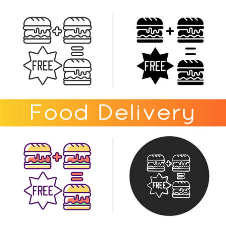Special offers icon. Food delivery discounts, coupons and deals. Free and reduced-price offers. Exclusive promo code. Linear black and RGB color styles. Isolated vector illustrations