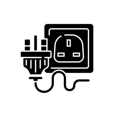 Industrial power outlet black glyph icon. Plug with multiple pins. Wall socket for appliance cable. Switch for technology. Silhouette symbol on white space. Vector isolated illustration
