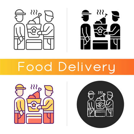 Food pickup icon. Restaurant takeout. Ordering online food from restaurants. Fast-food options. Ordering breakfast, dinner. Linear black and RGB color styles. Isolated vector illustrations