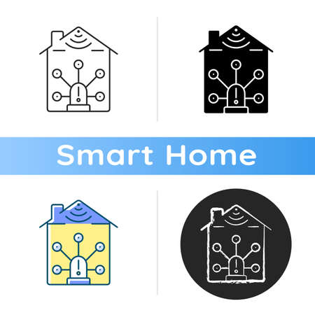 Alarm kit icon Securing your home and business from robbers. Smart surveillance system instalation process. Linear black and RGB color styles. Isolated vector illustrations