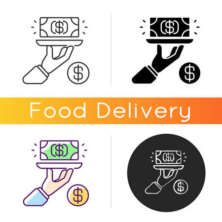 Service fee icon. Gratuity charge. Catered functions. High quality waiter, waitress. Dining establishments. Service charges. Linear black and RGB color styles. Isolated vector illustrations
