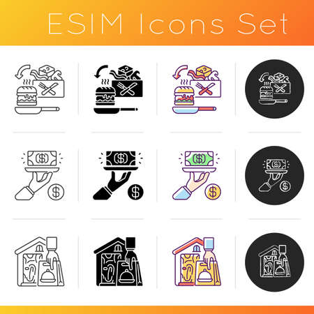 Meal delivery orders icons set. Gratuity charge. Meal kit delivery. Contactless, contact-free option. Restaurant-quality meals. Linear, black and RGB color styles. Isolated vector illustrations