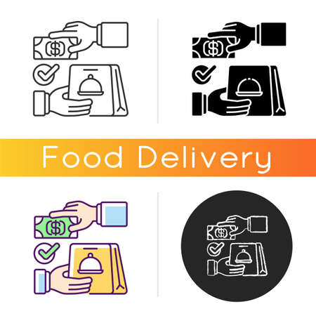 Cash on delivery icon. Advance payment. Meals and drinks delivery from local restaurants. Courier service. Online ordering for takeout. Linear black and RGB color styles. Isolated vector illustrations