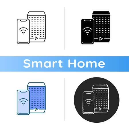 Smart speaker icon Smart house devices for loud party. Personal digital assistant hub. Remote controlling app. Linear black and RGB color styles. Isolated vector illustrations Çizim