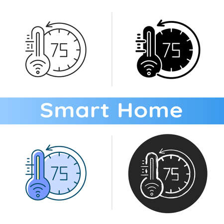 Thermostat icon Smart home monitoring future devices. Measuring temperature inside your house. Getting heat and cold status. Linear black and RGB color styles. Isolated vector illustrations Stock Illustratie