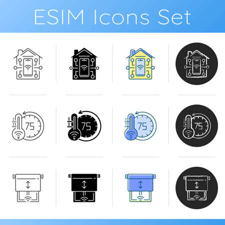 Remote access to different devices icons set. Smart home with light bulbs. Futuristic ai speaker assistant Linear, black and RGB color styles. Isolated vector illustrations Çizim