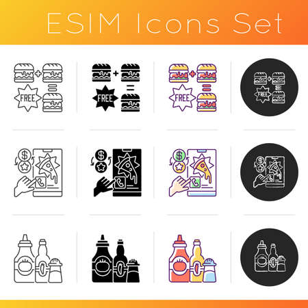 Restaurant delivery service icons set. Special offers. Customer loyalty program. Condiments and sauces. Food delivery discounts. Linear, black and RGB color styles. Isolated vector illustrations 矢量图像