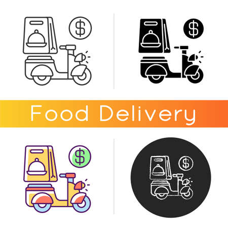 Delivery fee icon. Courier service. Online ordering. Collecting money from consumers. Cashless payment. Paying online. Linear black and RGB color styles. Isolated vector illustrations 矢量图像