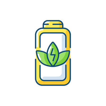 Battery charge saving RGB color icon. Economy mode when having low percentage. Increasing working time of your device. Isolated vector illustration Illusztráció