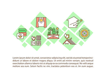 Sustainable architecture concept icon with text. Green house. Natural materials. Environment protection. PPT page vector template. Brochure, magazine, booklet design element with linear illustrations