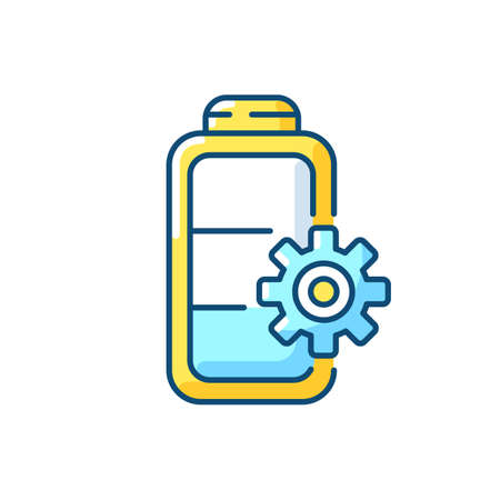 Battery settings RGB color icon. Installing right rules for device usage. Controlling amount of power incoming. Electricity management. Isolated vector illustration Illusztráció