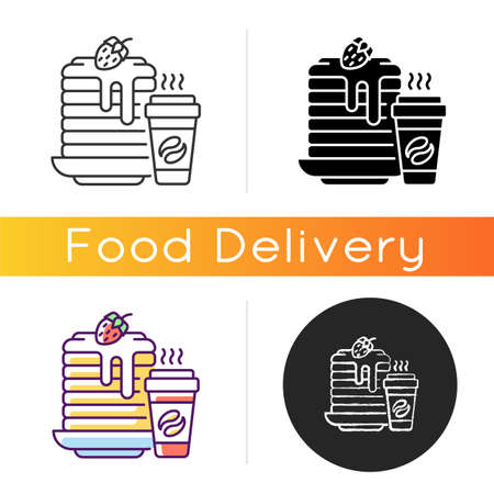 Breakfast meals icon. Prepared food. Pancakes and coffee. Well-balanced morning dishes. Brunch recipes. Caffeine beverages. Linear black and RGB color styles. Isolated vector illustrations