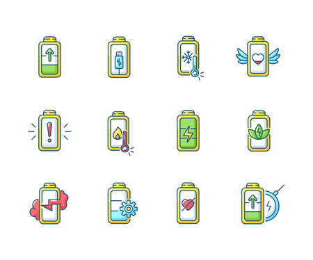 Battery status RGB color icons set. Innovational charging process. Using cables for getting electricity. Wireless station. Isolated vector illustrations