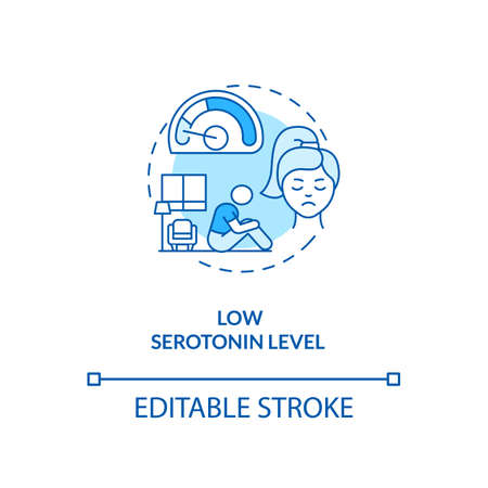Low serotonin level concept icon. SAD cause idea thin line illustration. Chronic stress. Physical and psychological symptoms. Vector isolated outline RGB color drawing. Editable stroke Illusztráció