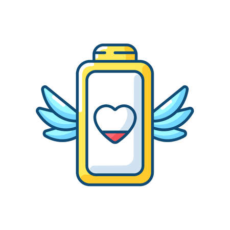 Low battery level problem RGB color icon. Modern devices working time issues. Fixing charging process. Small percentage. Isolated vector illustration