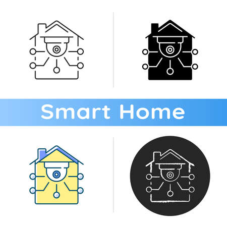 Security camera icon Smart surveillance devices for your home. Futuristic video system. Securing your business. Linear black and RGB color styles. Isolated vector illustrations Ilustração