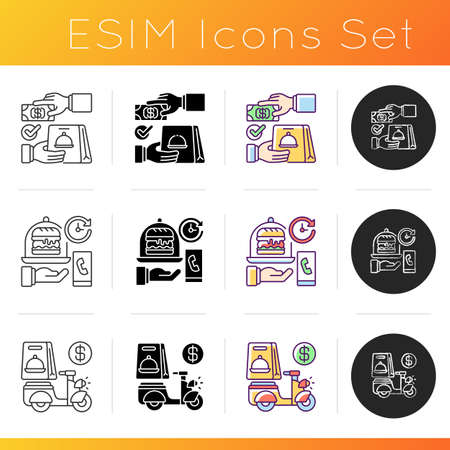 Delivering food to customer icons set. Cash on delivery. Delivery hours. Advance payment. Online ordering. Courier service. Linear, black and RGB color styles. Isolated vector illustrations
