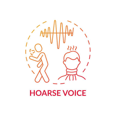 Hoarse voice concept icon. Sore throat symptom idea thin line illustration. Laryngitis. Abnormal voice. Vocal cords inflammation. Dysphonia and hoarseness. Vector isolated outline RGB color drawing Ilustração