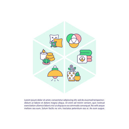 Natural materials in interior decor concept icon with text. Biophilic design. Healthy surroundings. PPT page vector template. Brochure, magazine, booklet design element with linear illustrations