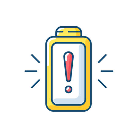 Battery working process risk RGB color icon. Devices chargers working issues. Dangerous power encreasing. Percentage level. Isolated vector illustration