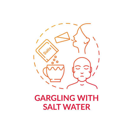 Gargling with salt water concept icon. Sore throat home treatment idea thin line illustration. Blocking viruses and bacteria. Colds, flus, mononucleosis. Vector isolated outline RGB color drawing Vettoriali