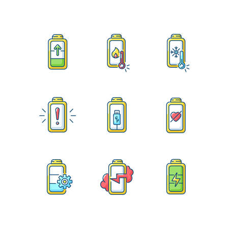 Battery problems RGB color icons set. Overheating while using charging cables. Fully one hundred percentage on your devices. Isolated vector illustrations Illusztráció