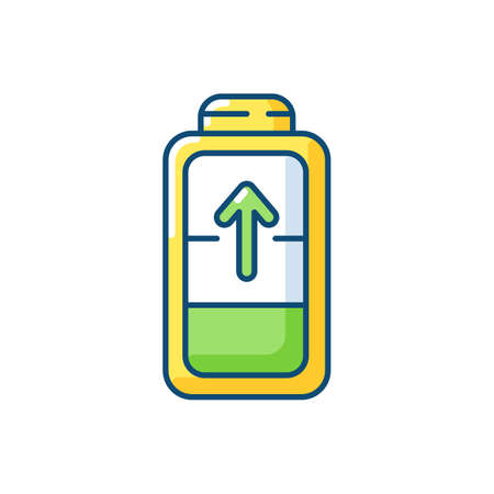 Battery charging process RGB color icon. Different devices working time. Electricity incoming process. Getting full system lifecycle. Isolated vector illustration