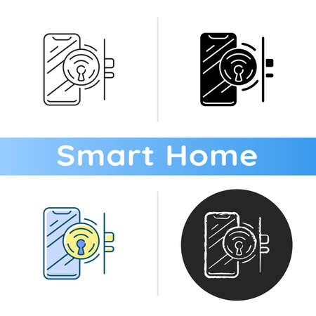 Door locker icon Smart home locker device. Remote house controlling system. Safety modern features. Digital mobile app. Linear black and RGB color styles. Isolated vector illustrations