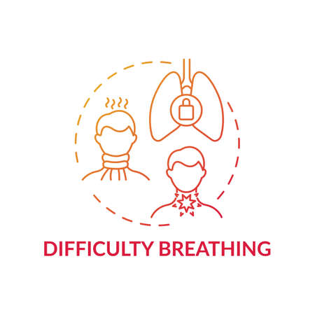 Difficulty breathing concept icon. Sore throat complication idea thin line illustration. Uncomfortable condition. Problems with trachea and bronchi. Vector isolated outline RGB color drawing