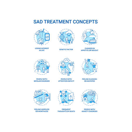 SAD treatment concept icons set. Mental health disorder idea thin line RGB color illustrations. Attention deficit. Feeling hopeless and worthless. Vector isolated outline drawings. Editable stroke Illustration