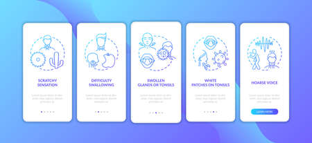 Raw throat symptoms onboarding mobile app page screen with concepts. Swollen glands, hoarse voice walkthrough 5 steps graphic instructions. UI vector template with RGB color illustrations